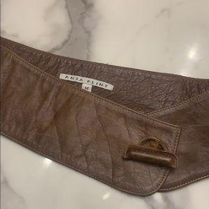 Anja  flint soft brown leather hip belt
